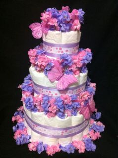 Tier Pink Lilac Butterfly Diaper Cake Baby Shower Decoration Gift