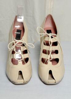 Derek Lam Cream Peep Toe Bootie Boot High Heel Pump Shoe Perforated 10