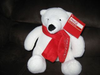 COCA COLA WHITE POLAR BEAR PLUSH STUFFED ANIMAL TOY TEDDY 7 inch