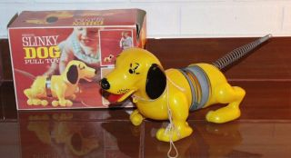 VINTAGE TOYS ORIGONAL SLINKY DOG PULL TOYS WITH ORIGINAL BOX