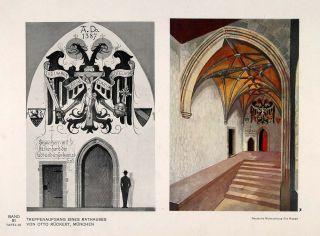1931 Art Deco Design Rathaus City Hall Staircase Print   ORIGINAL