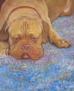 Dogue de Bordeaux Original Painting French Mastiff Dog Breed Portrait