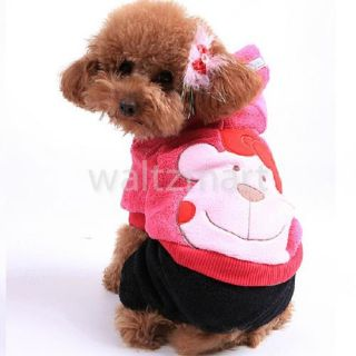 Dog Apparel Winter Warm Hooded Coat Jumpsuit Clothes Costume
