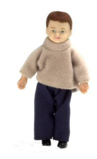 Doll House Mini Brunette Boy Brother Doll Kid w Outfit