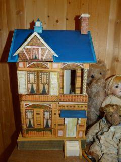 Reproduction German Gottschalk Bliss Blue Roof paper litho doll house