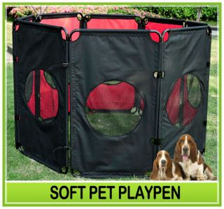 Puppy Dog Play Pen Exercise Kennel Folding Crate Red 8 Panel