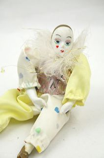 Collectible Porcelain Harlequin Clown Doll Figurine