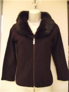 dolce cabo zipper cardigan with rabbit fur collar m nwt
