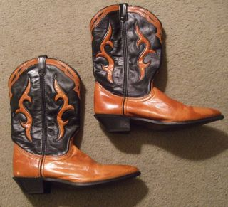 Dingo Leather Vintage Womens Western Cowboy Boots 9m Black tan made in