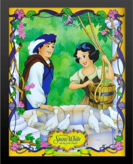 Framed Disney Snow White Dwarves Print High Quality 2 Black Wood Buy