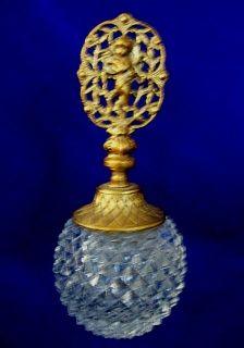 Diamond Point Crystal Perfume Bottle w Cherub England