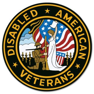 Disabled American Veterans Car Bumper Sticker 4 x 4