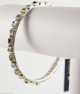 Konstantino Silver Gold Multi Stone Bangle Bracelet Iolite Peridot