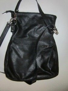 Dimoni Spain Black Leather Large Shoulder Bag Handbag