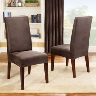 Surefit Brown Stretch Faux Leather Short Dining Chair Cover