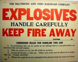 Vintage WWII B O Railroad Explosives Train Car Sign