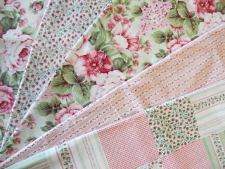 Pink Cabbage Rose Floral Quilting Fabric Lot