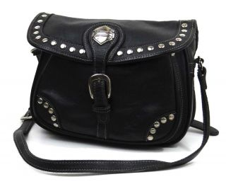 Harley Davidson Womans Black Leather Riding Purse HD Branded Handbag