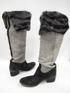 Donald J Pliner Gray Suede Black Gray Rabbit Fur Lined Knee High Boots