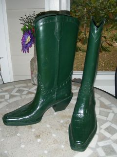 Donald Pliner Cowboy Western Rubber Rain Boots Sz 6 MSRP $198 Mint