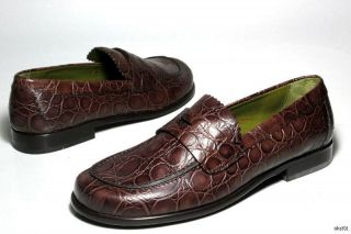 New Donald J Pliner Uncle II Brown Croco Leather Loafers Shoes Italy