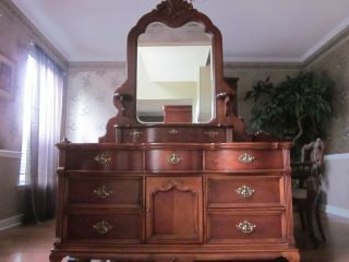 Luxury amish rustic cherry bedroom set solid wood full - Lexington victorian bedroom furniture ...