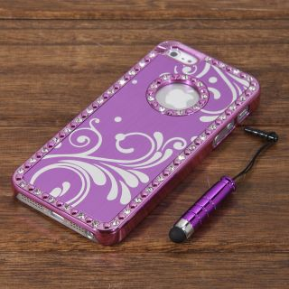 Set Purple Aluminium Bling Diamond Crystal Chrome Hard Case Cover For