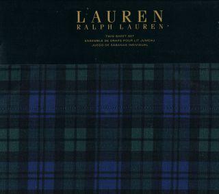Ralph Lauren Blackwatch Plaid Dorm Twin Sheet Set NIP Green Blue