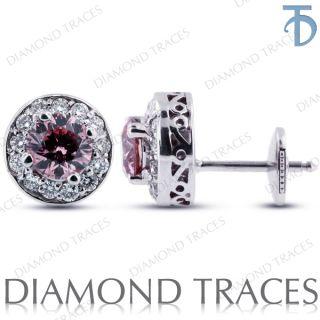 46 Ct Pink VS2 Round Diamond Vintage Earrings 14k Gold 2 85gm AGI