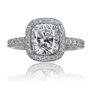 Cushion Cut Halo Diamond Engagement Ring 2 54 Ct 18K White Gold