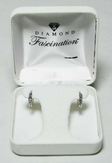14k White Gold Diamond Hoop Earrings by Diamond Fascination