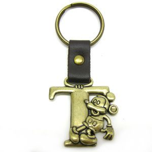 Disney Mickey Mouse Brass Initial Key Ring Letter T