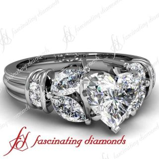 15 Ct Heart Shaped Diamond Engagement Ring Channel Set 14k White