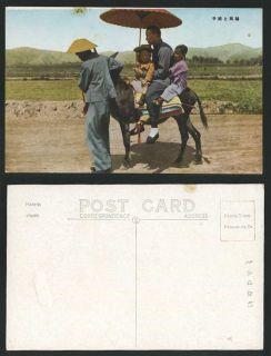 China Manchuria Old Postcard Donkey Riders Chinese Man Children Little