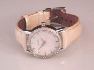 DKNY Donna Karan NY 8015 Leather Strap Crystal Mother of Pearl Womens