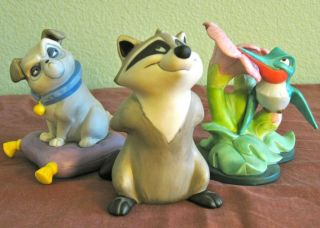 Disney Pocahontas Porcelain Statues Figurines Meeko Percy Flit