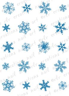 20 Winter Nail Decals Snowflake Doodles Assortment Water Slide Nail