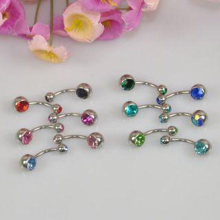 12pcs Double Crystal Gems Balls Navel Belly Body Piercing Ear Rings