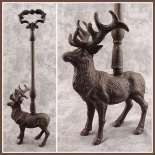 Deer Elk with Antlers Cast Iron Door Porter Doorstop