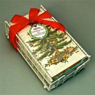Spode Christmas Tree Paper Guest Towels & Caddy Holder