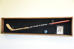Hockey Stick Puck Display Case Rack Holder Full Size Wall Mounted NHL