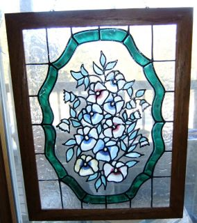 Vintage Floral Stain Glass Suncatcher Art Painting. Framed Chain 14 X