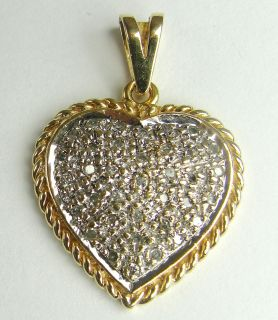 14k Yellow White Gold Heart Pendant Pave Diamonds Two Tone Rope Design