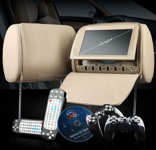 L0206 9 CAR HEADREST MONITOR LCD SCREEN DVD PLAYER USB SD DIVX  TAN