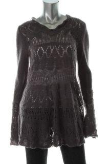 Olivia Sky New Gray Pointelle Bell Sleeves V Neck Tunic Sweater