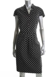 Jones New York Black Ivory Polka Dot Cap Sleeves Wear to Work Dress 12