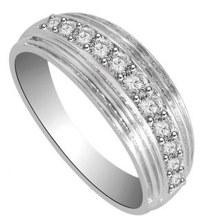 Channel Set 0 60ctw Round Cut Diamond Jewelry White Gold Mens Wedding