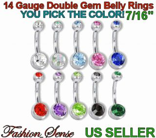 Double Jeweled Banana Barbells Belly Navel Ring Gem 14g