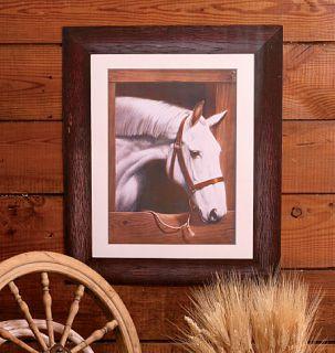 Old Dobbin Horse in Stall Rustic Frame Equestrian Mural Wall Barn