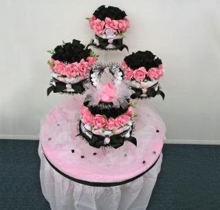 piece black zebra pink diaper cake centerpiece here s whats included 2